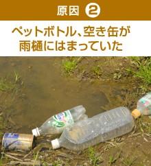 ペットボトル、空き缶が雨樋に詰まっていた