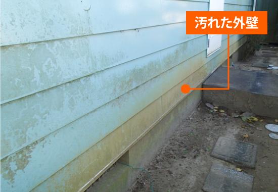 外壁の汚れは見栄えを悪くするだけでなく苔やカビを繁殖させます